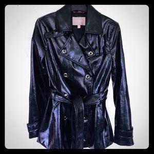 Banana Republic slick black short trench coat